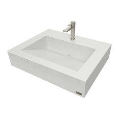 "24"" ADA Floating Concrete Ramp Sink, White-Linen"