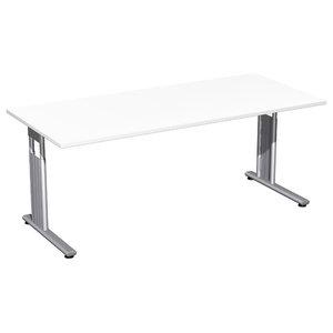 C-Foot Flex Adjustable Large Rectangular Desk, White