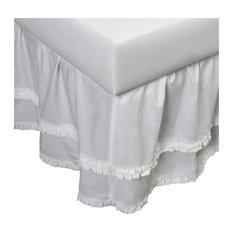 Perpre Ruffle Bed Skirt, Linen, White, Twin