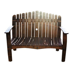 wine barrel love seat bench outdoor benches alpine wine design outdoor