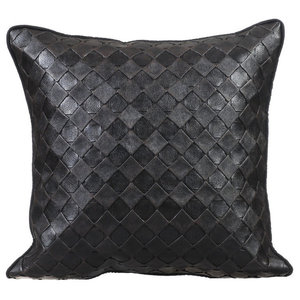 Textured Leather 30x30 Leather Black Cushions Cover, Black Leather Weave