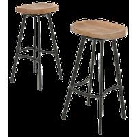 GDF Studio Shea wood and iron rustic Swivel Bar Stool, Set of 2