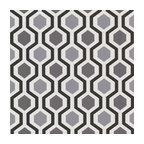 347-20133 Marina Modern Geometric Black And White Trellis Wallpaper