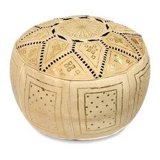 Golden Fez Stuffed Pouf, Beige, Round Shape