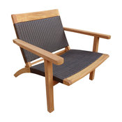 Teak Wood Barcelona Patio Lounge and Dining Chair, Black