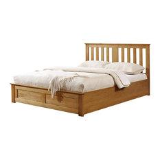 Cohiba Storage Panel Bed, Oak, Double