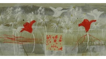 Pintura de Carmen Gimenez Tovar, flores, acrílico, 26 x 75 cm