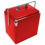 Creative Outdoor Distributor - Creative Outdoor Stainless Steel Cooler w/Built-in Bottle Opener, Insulate - Retro Vintage 13L rugged steel Ice Chest insulated Cooler. Light weight with lift off top holds 10 bottles or 12 cans tough powder coated Classic Red paint finish with durable urethane liner.The vintage-inspired Legacy Cooler is a stylish way to keep your drinks cold all day long. The Legacy Cooler is made with scratch and rust resistant steel making it durable enough for all of your outdoor activities.