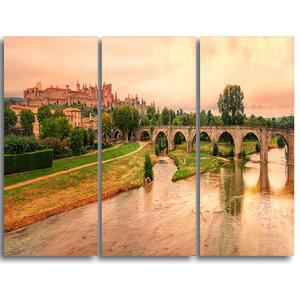 """Cite de Carcassonne Panorama"" Wall Art, 3 Panels, 36""x28"""