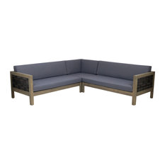 Theresa Wood and Wicker 5 Seater Sectional Sofa Set, Gray, Mixed Brown, Dark Gra