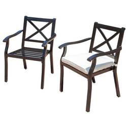 Transitional Outdoor Dining Chairs by GDFStudio