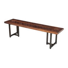 Design Tree Home   Reclaimed Wood, Herringbone Inlay Bench   Dining Benches