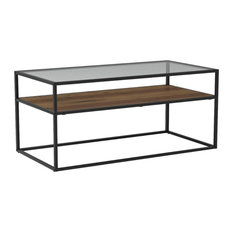 Industrial Coffee Table Laminated And Glass Shelf Rectangular Design Brown/Gr