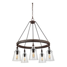 Loras Five Light Chandelier Dark Weathered Iron Clear Seeded Gl