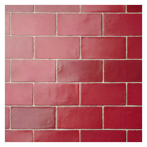 """3""""x6"""" Antiguo Special Ceramic Wall Tiles, Set of 8, Red"""