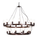 Cartwheel Style Ceiling Pendant Light, Rust, 25 Light