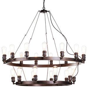 Cartwheel Style Ceiling Pendant Light, Rust, 25 Light