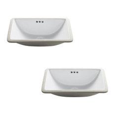 Elavo Regtangle Ceramic Undermount White Bathroom Sink, Set of 2