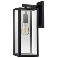 Bowery 1-Light Matte Black Indoor/Outdoor Wall Sconce With Clear Glass Shade