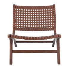 Makayla Leather Woven Accent Chair