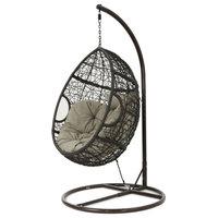 GDF Studio Kyle Outdoor Wicker Hanging Basket Chair, Multi-Brown/Khaki