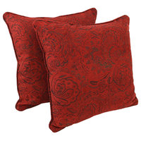 """25"""" Jacquard Chenille Square Floor Pillows Inserts, Set of 2 Scrolled Floral Red"""