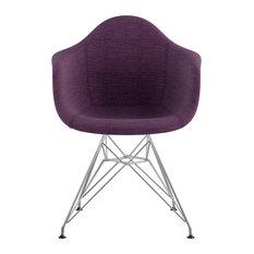 Mid Century Eiffel Arm Chair, Plum Purple