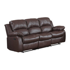 Divano Roma Furniture Recliner 3 Seater Sofa Brown Over Stuffed Bonded Leather Chair