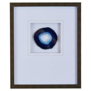 Madison Park Blue Agate Stone Framed Graphic With Blue Finish MP95G-0004