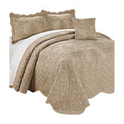 Damask Embroidered Quilted 4 Piece Bed Spread Sets, Incense, King