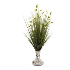 "32"" Tall Onion Grass With Cattail Artificial Decor, Pearl Mosaic Vase"
