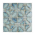 "11.75""x11.75"" Luna Porcelain Mosaic Floor and Wall Tile, Diva Blue"