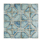 "11.75""x11.75"" Luna Porcelain Mosaic Floor and Wall Tile, Diva Blue"