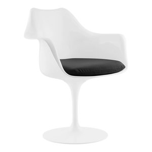 Lippa Dining Faux Leather Armchair, Black
