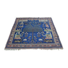 """Consigned 4'4""""x4'9"""" Pictorial Persian Afshar Handmade Square Rug"""