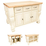 """Hardware Resources - Lyn Design Kitchen Island - Kitchen Island by Lyn Design. Featuring full extension slides on drawers, soft-close European hinges, and fully adjustable shelves. 1-3/4"""" Maple Butcher Block Top Sold Separately (ISL01-TOP). DIMENSIONS: 53-1/2"""" x 33-3/4"""" x 35-1/2"""" FINISH: AWH Antique White with 618/718DBAC hardware. Kitchen Island comes fully assembled."""