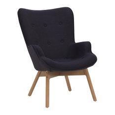 Copenhagen Wooden Chaise Longue, Black