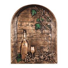 Window With Wine Bottle Backsplash Mural, Copper