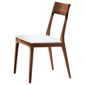 Capri Dining Chair, Solid Walnut and White