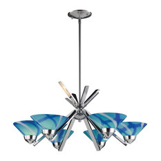 Art Deco 6 Light Chandelier in Polished Chrome Finish