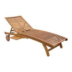 Acacia Chaise Lounge with Pull Out Tray,Rustic Brown