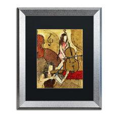 """Joarez 'Two Friends' Framed Art, Silver Frame, 16""""x20"""", Black Matte"""