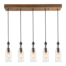 5-Light Glass Mason Jar Lights Kitchen Island Lighting