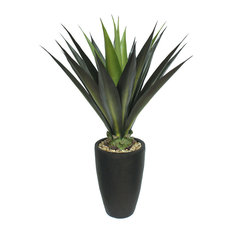 44 Inch Tall High End Realistic Silk Giant Aloe Plant with Contemporary Planter