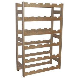Traditional Stylish Wine Rack, Oak Finished Untreated Wood 30-Bottle Capacity