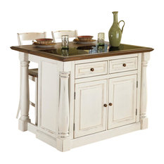 Home Styles   Monarch Kitchen Island And 2 Stools Set, Antiqued White, With  Granite