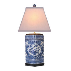 Blue and White Canton Urn Lamp