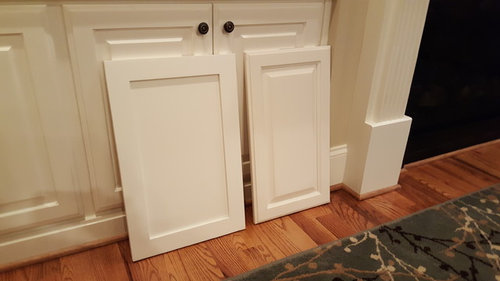 Merveilleux BM White Dove On Left SW Dover White On Right. Background Cabinets Are SW  Dover White.