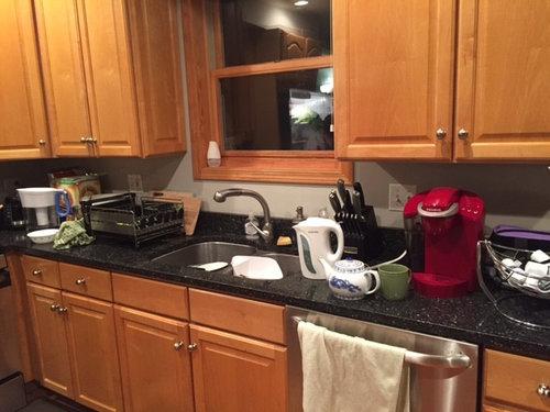 Backsplash rec - oak cabinets with dark granite counters ... on Backsplash For Dark Countertops  id=90646
