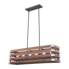 Rustic Wood In Burnt Brown Color 6-Light Pendant, No Bulbs